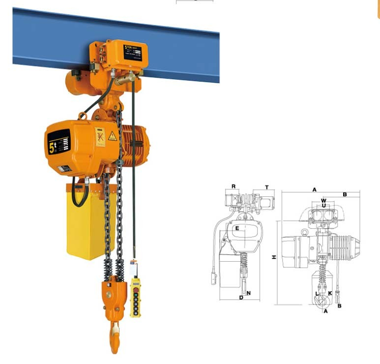 HSY type 5 ton electric chain hoist with motorized trolley