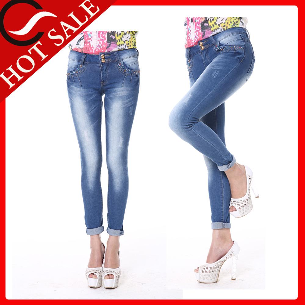 2016 Ladies Jeans Top Design Denim Jeans Wholesale