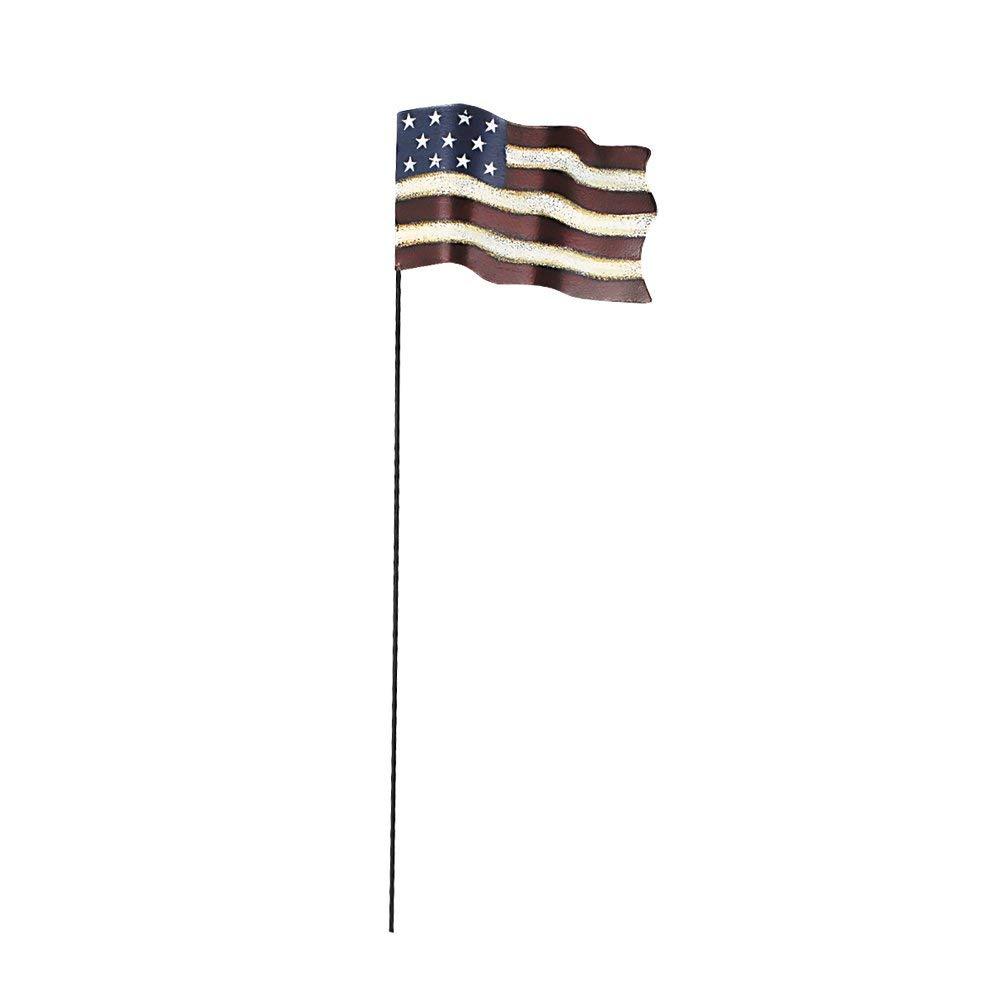 "Y&K Decor Metal Garden Flag American Glory Stake Flying Flag Primitive Patriotic US Flag 4th of July Decoration 20"""