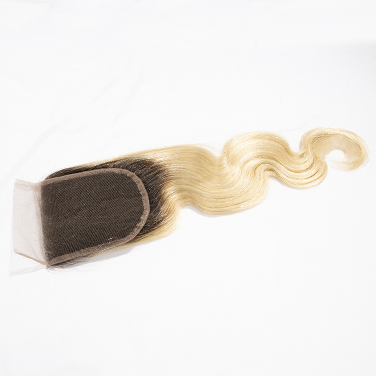 Luxefame Hair Ombre 1B Blonde 613 4*4 Swiss Lace Closure Brazilian Body Wave 130% Density Remy Human Hair 8''-20