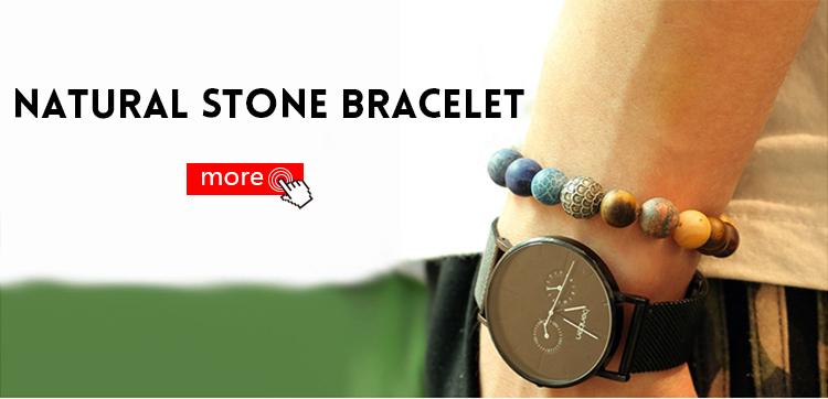 Mcllroy High Quality mens beaded bracelet Natural Flash stone Beads skull Bracelets natural stone bracelet