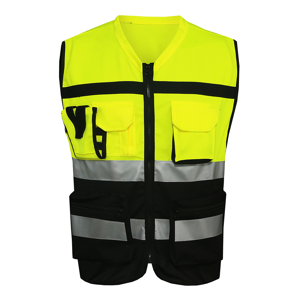 Mnds Yellow Black Work Clothes Reflective Safety Vest
