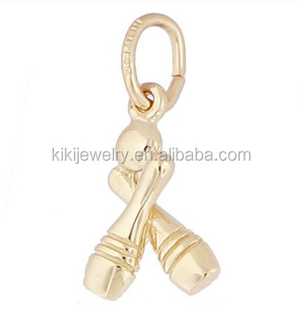 Fashion alloy gold plated ball charm bowling pins charm