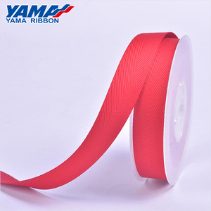 Personalised solid red color grosgrain polyester Twill ribbon