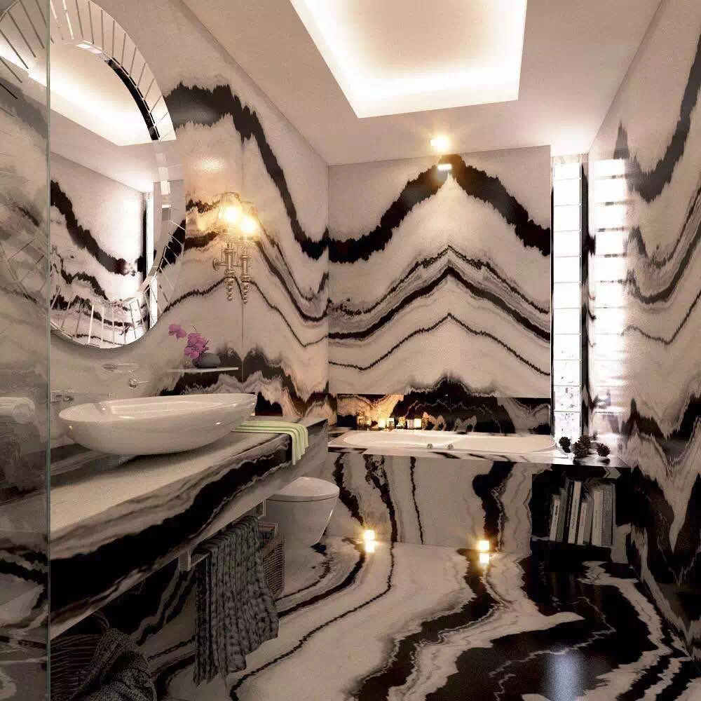 for bathroom luxury decor highly book match marble panda white