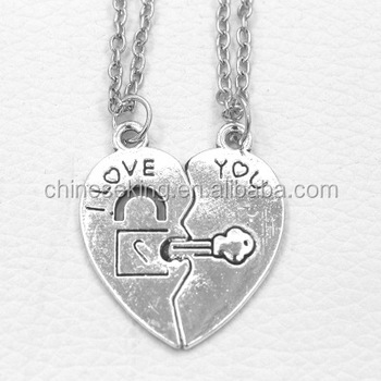 Free sample key lock charm necklaces love custom couple necklaces 2 free sample key lock charm necklaces love custom couple necklaces 2 half matching heart love necklaces aloadofball Image collections
