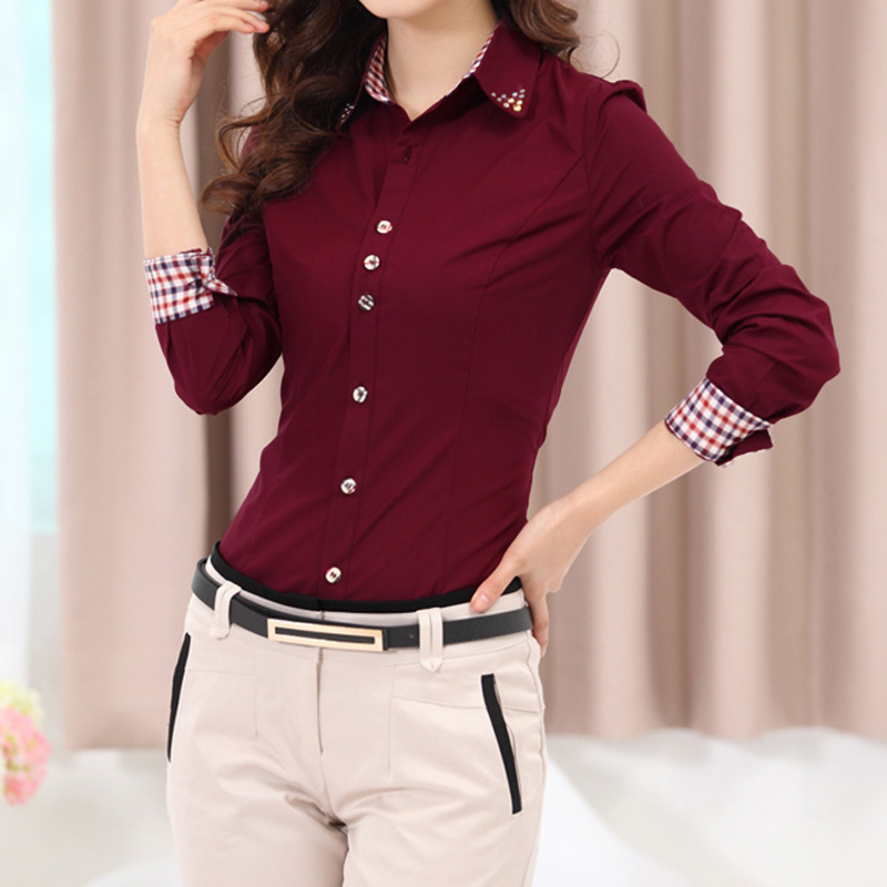 f08e62768e Compre 2018 Otoño Primavera Mujeres Camisa Patchwork Plaid Ladies Oficina Camisas  Blusas Top Blusas Blusas Camisas Femeninas Camisas Femininas A  36.81 Del  ...