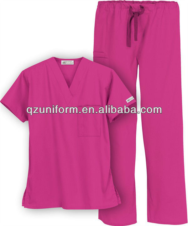 e75e63785be Burgundy Nursing Scrub Suits For Women Slu001 - Buy Nursing Scrub ...