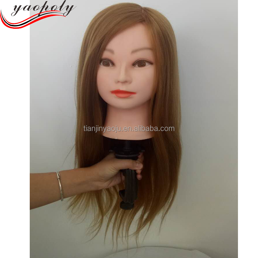 Professional Styling Head With Golden Thick Hair Wig For Hairdressers Training Nice Mannequin Head