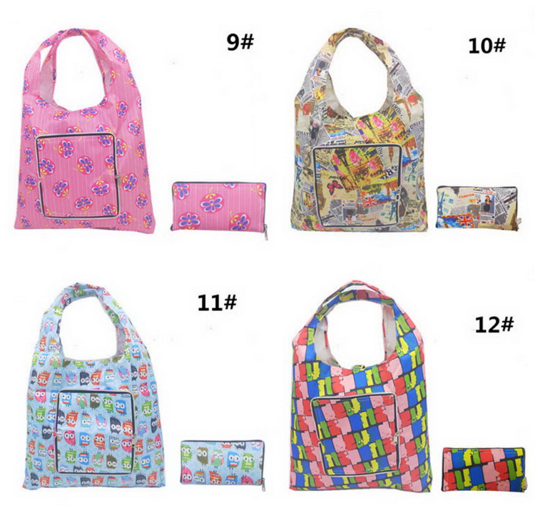 Promotional Reusable Supermarket Polyester Flower Handle Bag Folding Storage Shopping Bag With Zipper