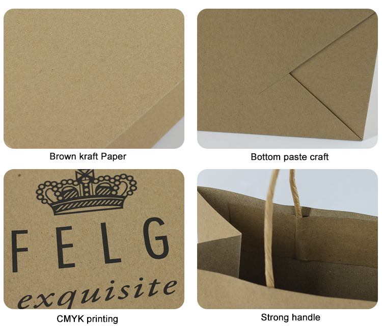 Wholesale Custom Logo Printed Grocery Packaging Craft Brown Kraft Paper Shopping Bag with Handle