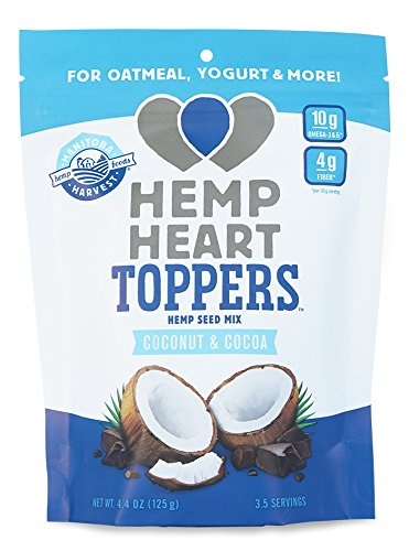 Manitoba Harvest Hemp Heart Toppers, Cocoa & Coconut, 4.4oz; with 10g of Protein & Omegas, 4g of Fiber per Serving, Non-GMO
