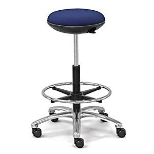 Memory Foam Fabric Stool with Foot Ring (Jacquard 010 Navy Fabric Seat/Chrome and Black Frame)