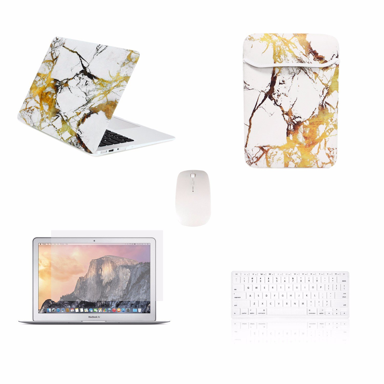 """TOP CASE 5 in 1 Bundle Deal - Air 11-Inch Marble Pattern Rubberized Hard Case, Keyboard Cover, Screen Protector, Sleeve Bag and Mouse for MacBook Air 11"""" A1370 & A1465 - Marble White/Gold"""