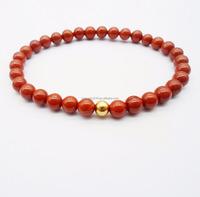 Natural Semi-Precious Stone Red Coral Gemstone Stretch Bead Bracelet HPYL3378