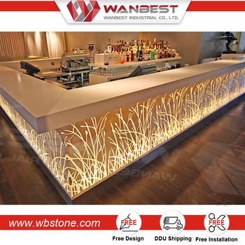 Free Standing Modern Furniture Bar Counter With Led Light For