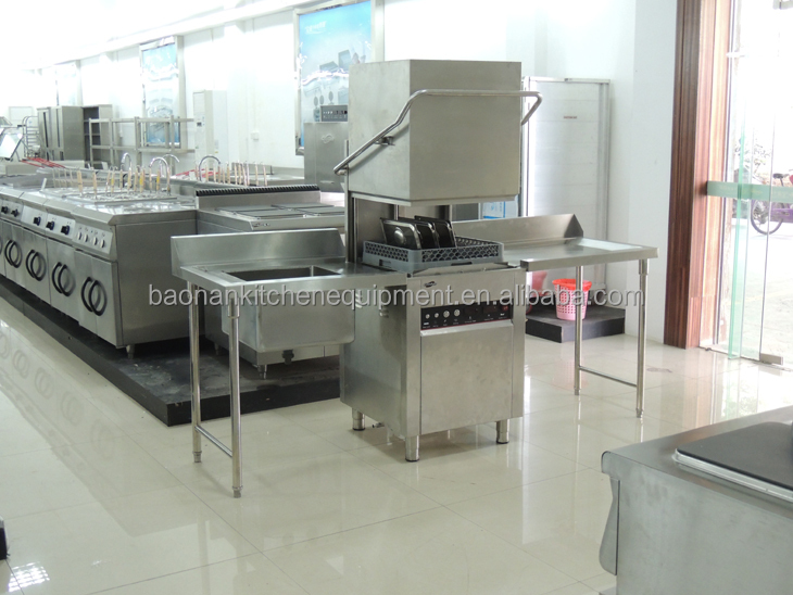 Restaurant Hotel Kitchen Equipment Commercial Hood Dishwasher / Simple Hoop Dish Washer