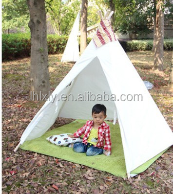 Blanc toile bricolage kids play tente tipi tente id de for Tente tipi exterieur