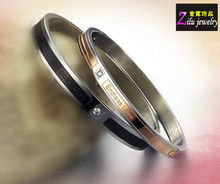 "Etched ""Endless love"" stainless steel bangle bracelets diamond(SB-898-2)"