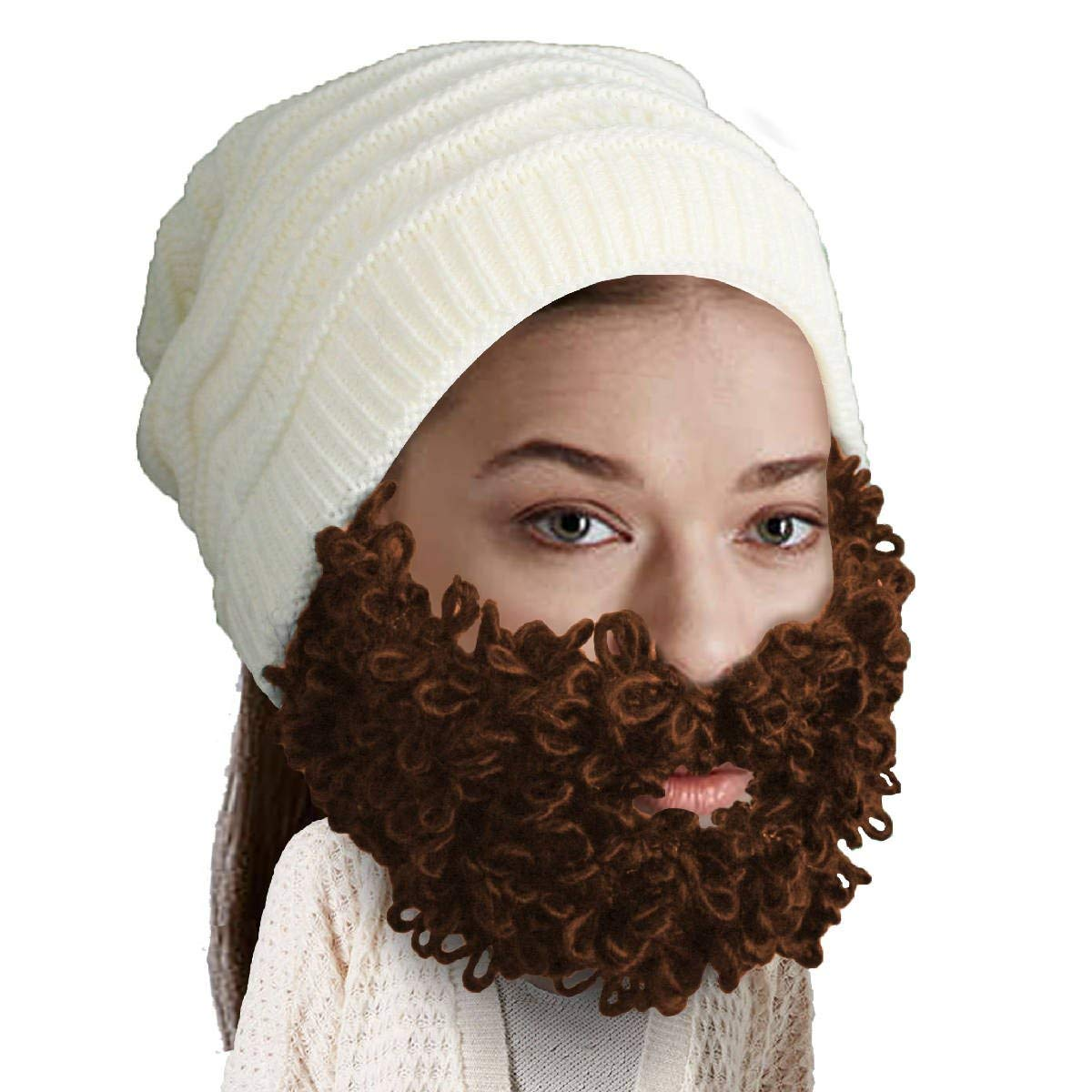 ced6f983a00 Get Quotations · Beard Head - The Original Curly Pearl Knit Beard Beanie