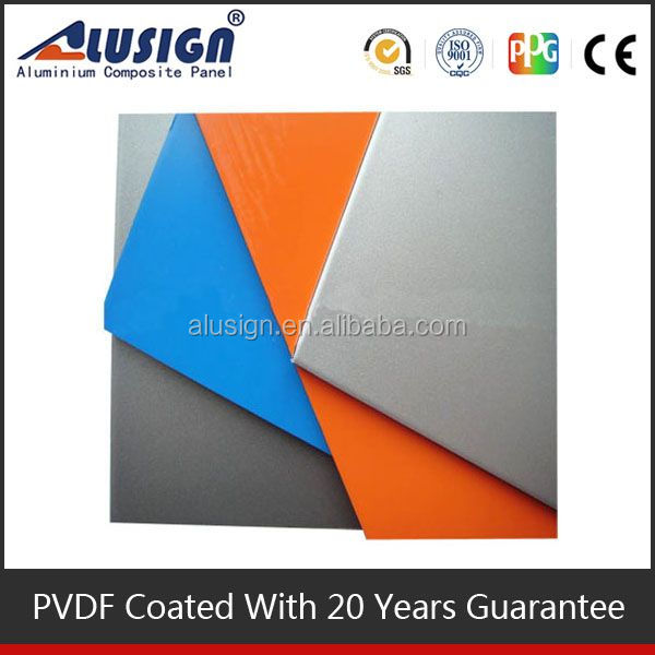 Alusign plastic core aluminum composite board pe acp cutting board for decoration