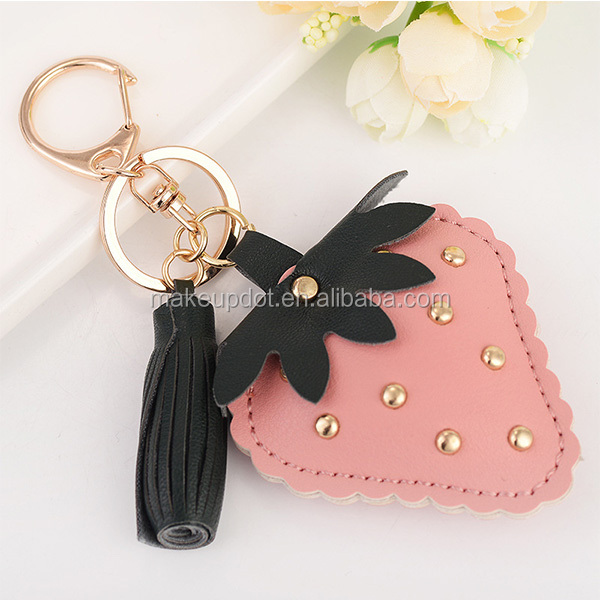 Creative PU Leather KeyChain Small Gift Key Accessories Cute Strawberry Mobile Phone Bag key Ring fruit keychain