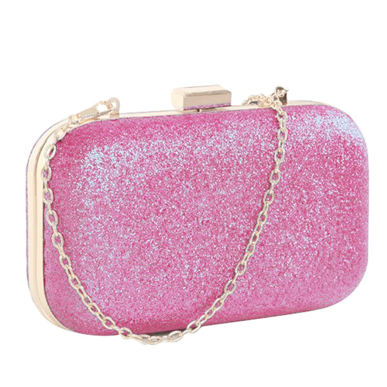 Mini Evening Bag - SODIAL(R)PU leather Women's mini evening bag fashion clutch banquet bag girls shoulder bag Messenger bag, Pink