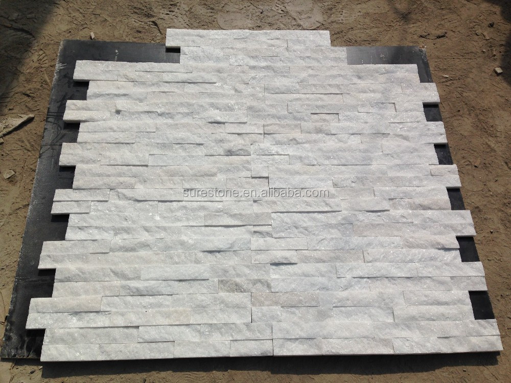 Esterno della pietra rivestimento della parete pannello in pietra naturale puro bianco quarzo sporgenza pietra