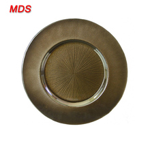 Hot mercury home decoration bronze glass charger plate