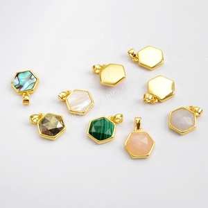WX992 hexagon pendant with gold bezel, charms for jewelry making