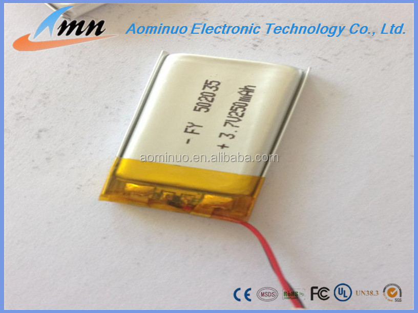 lithium polymer lipo rechargeable 502035 3.7v 300250 mah lipo battery for MP3/MP4 etc