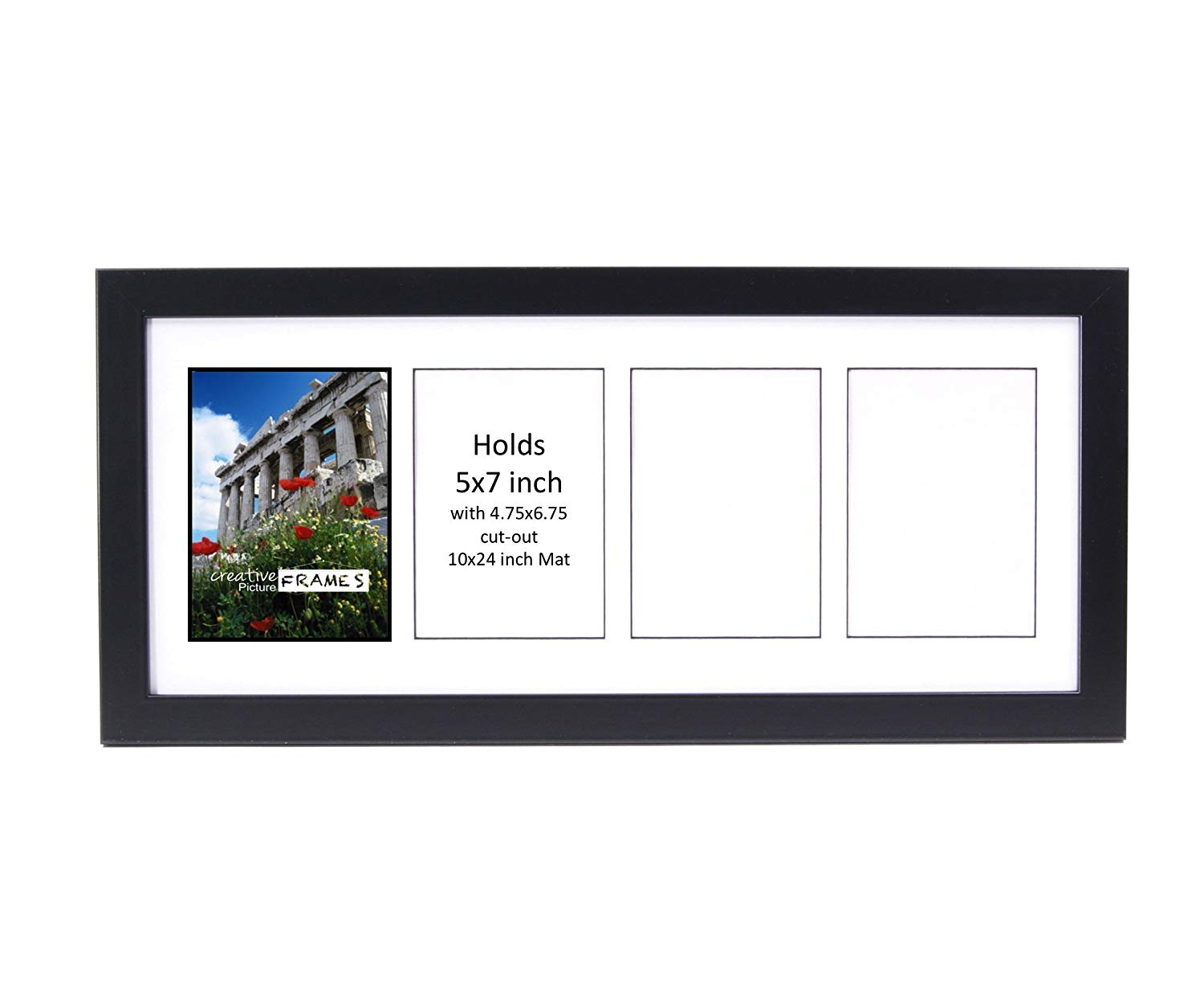 Creative Picture Frames CreativePF- 4 Opening Glass Face Black Picture Frame to hold 5 by 7 inch Photographs including 10x24-inch White Mat Collage