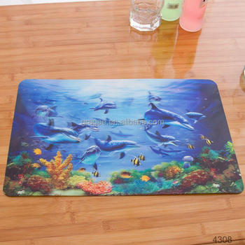 Kitchen 3D Lenticular Pvc Table Mat PP Plastic Placemats