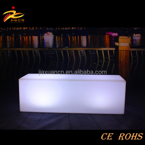 PE plastic special event furniture led glow Rectangular stool chair