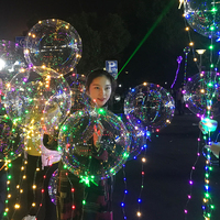 Creative LED Transparent Bobo Light aluminum Balloon with String Light for Christmas New Year Wedding Party Decor