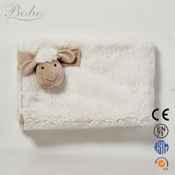 3d Animal Polyester New Baby Blanket With Plush Sheep Toy