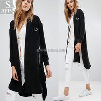 Online shopping clothes women wear winter bomber jacket wholesale clothing manufacturers twill black longline jacket coats