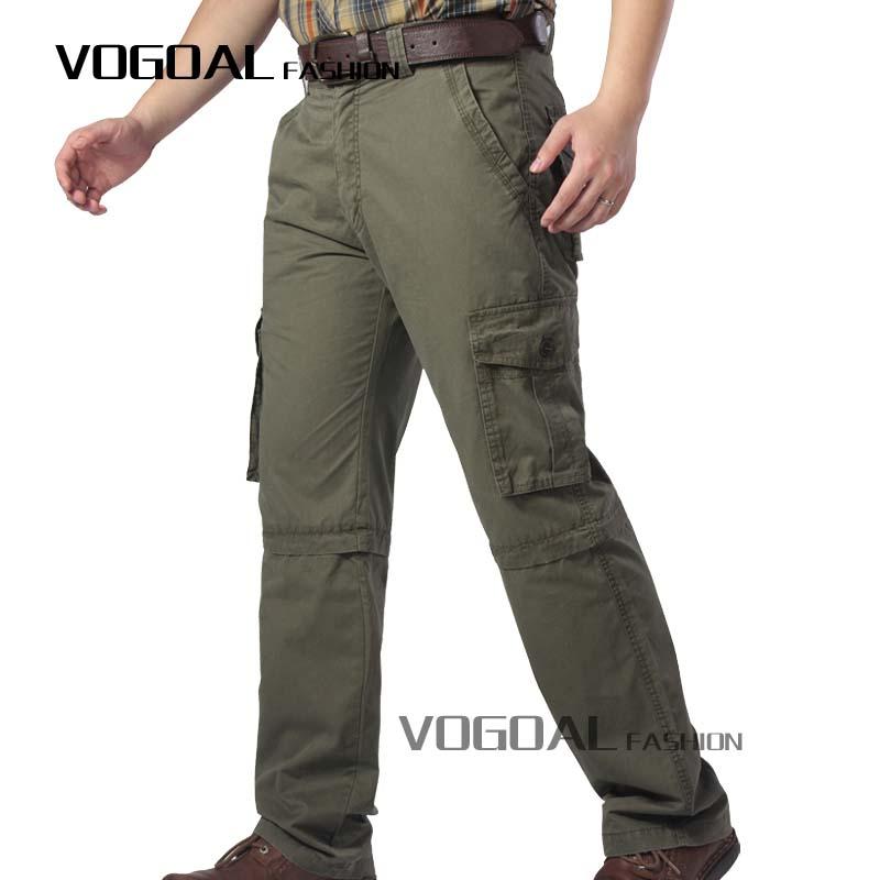 nuevo concepto ba0d4 63fcd aire libre de los hombres pantalones de algodón desmontable con bolsillo  lateral militar del ejército de carga pants-Pantalones de ...