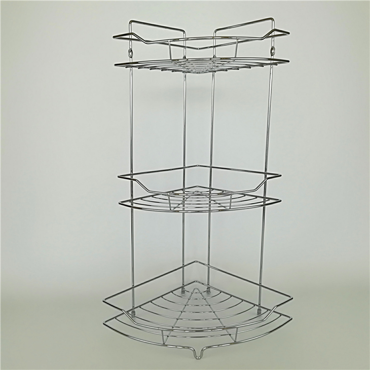 3tier Corner Bathroom Caddy Basket Chrome Plated Metal Wire Free ...