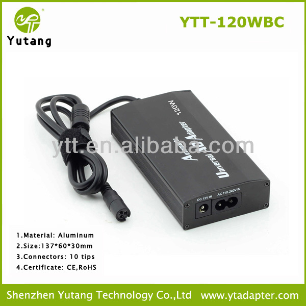 Factory Larger Supply 120w ac dc notebook power charger for home and car use