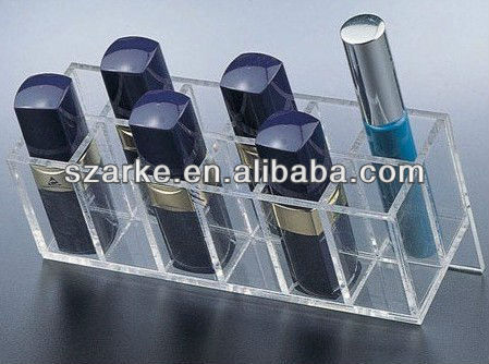 clear acrylic 12pcs lipsticks/lip gloss countertop display holder 12pcs lipsticks compartments storage organizer box