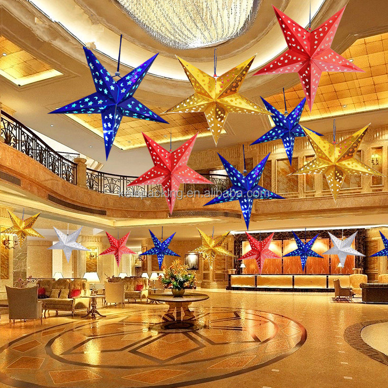 Hanging Christmas Decorations Ceiling.Hot Sell Suspended Ceiling Decoration 30cm 120cm Paper Laser Hanging Christmas Five Pointed Star Buy Hanging Christmas Star Christmas Decoration