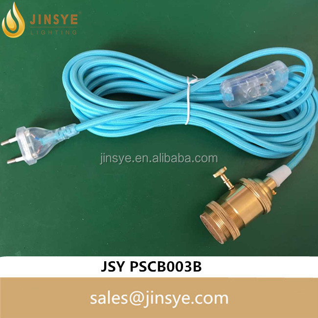 E26 E27 golden brass lampholder blue fabric cable transparent eu plug with 303 switch braided power cord