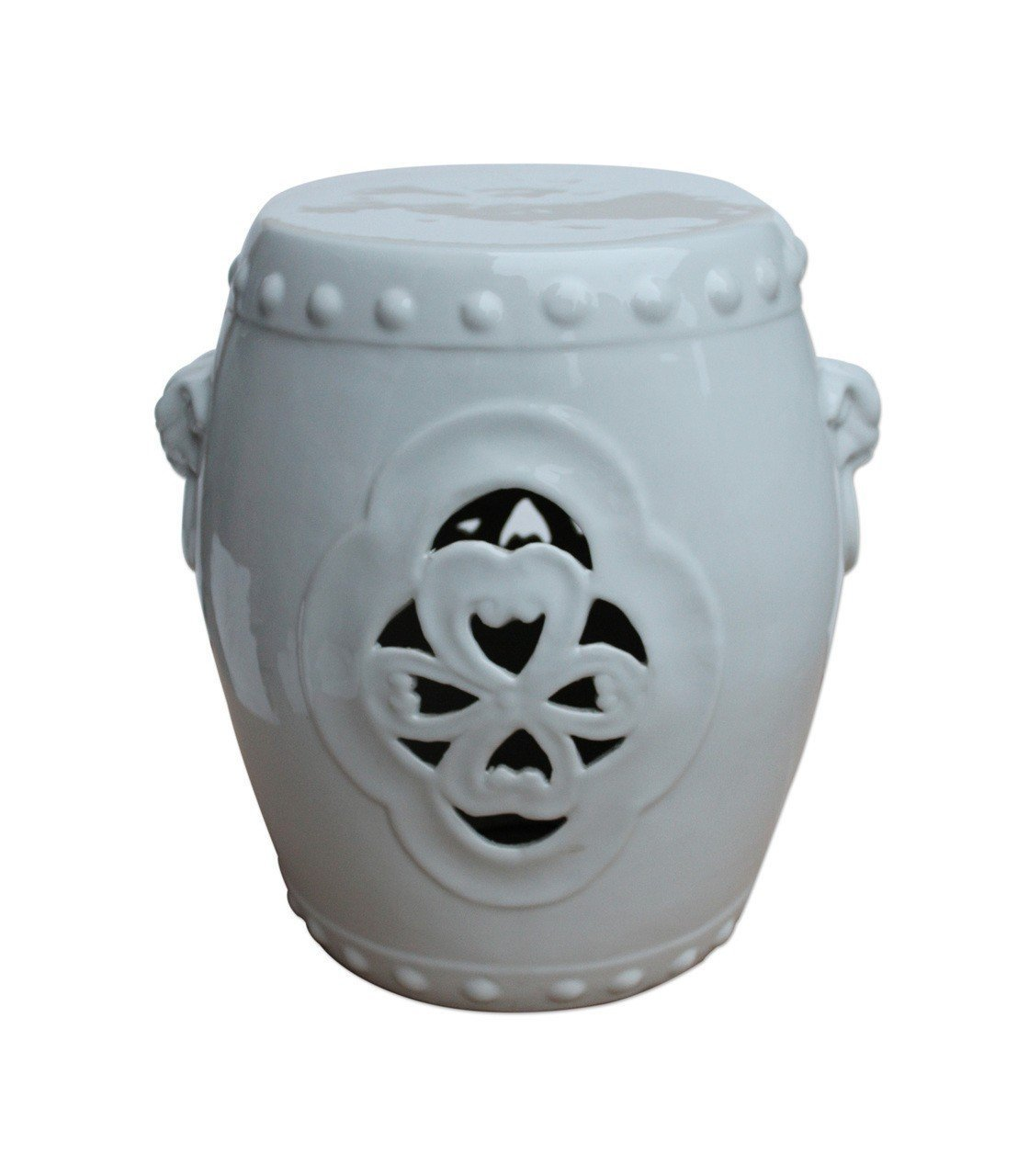 Asian Traditional Chinese White Carved Floral Garden Stool With Ears Asian Traditional Chinese Orange Lion Temple Jar Ceramic / Porcelain Decorative Spice Jar / Storage