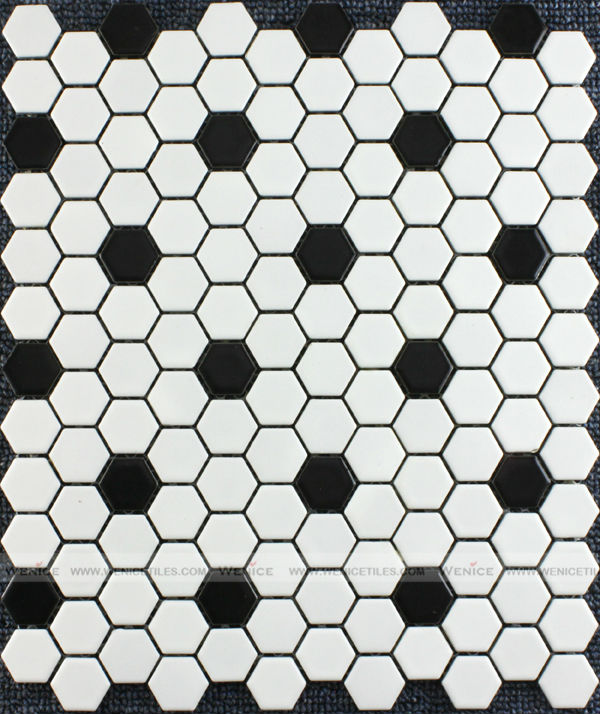 Noir et blanc cermaic carreaux carrelage mosa que hexagone for Carrelage hexagonal noir