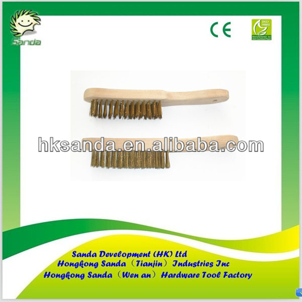 long wooden handle cooper wire brush