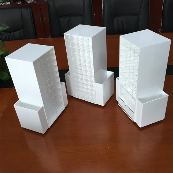 Custom Spinning White Acrylic Cosmetic Organizer Rotatable Makeup Drawers Display Holder Case