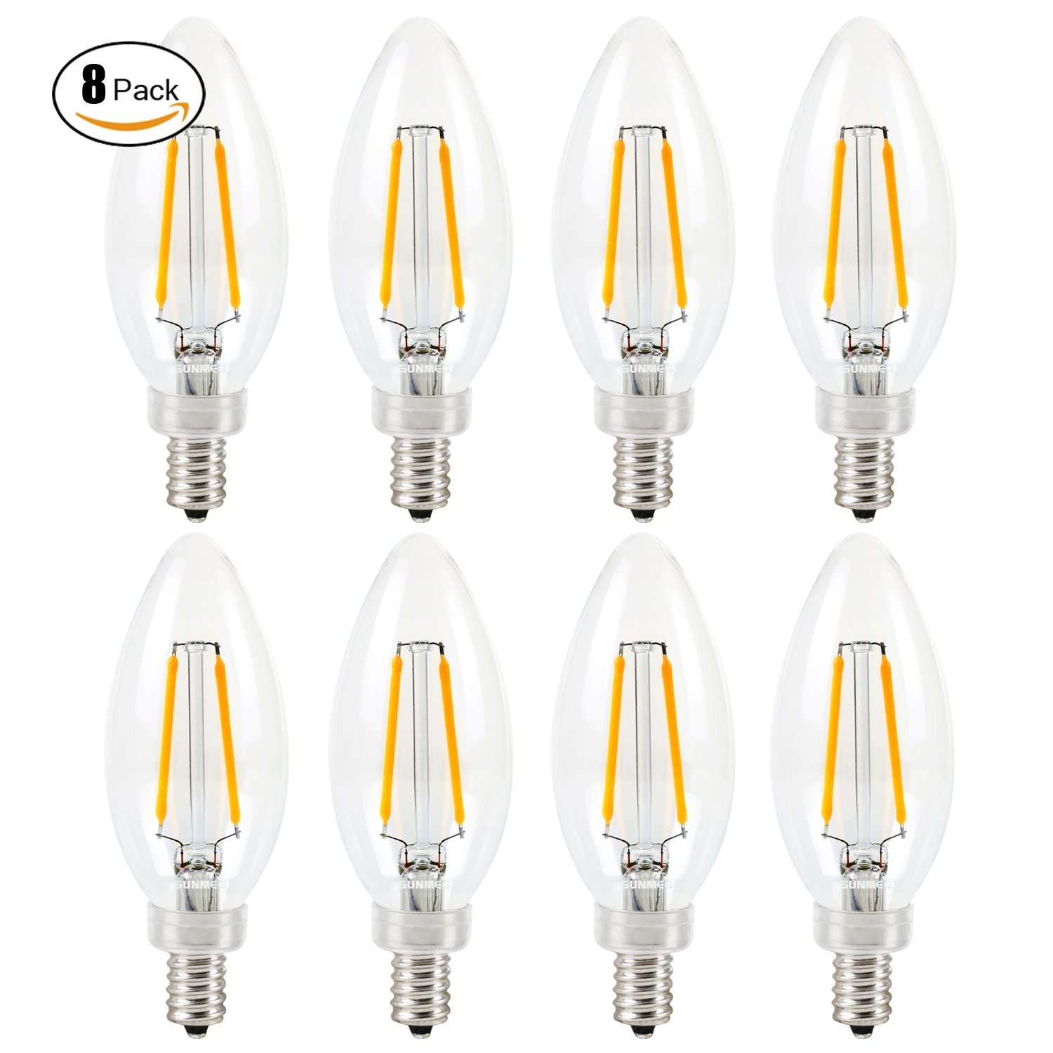 SUNMEG Dimmable B11 2W E12 Base LED Candelabra ,LED Filament Bulb, 2700K Warm White, 360 Degree Beam Angle, Equivalent to 20W Incandescent (8 Pack)