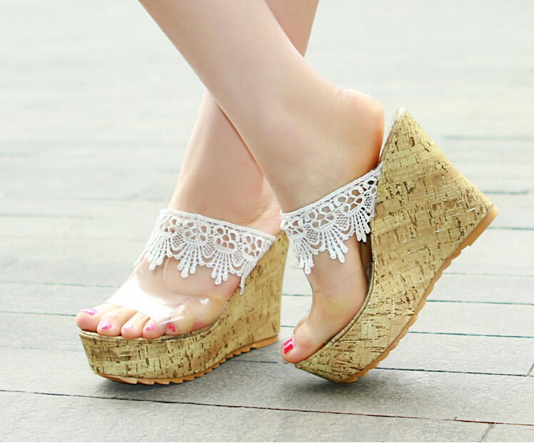 Latest Ladies Bohemian Wedge Heels Slides Sandal Cheap High