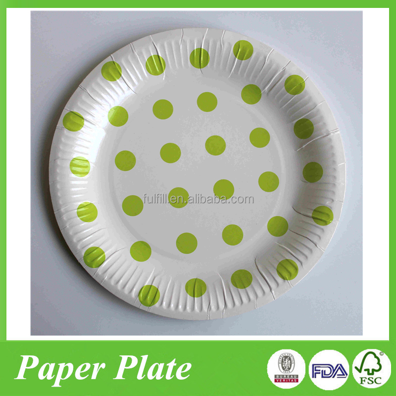 Disposable Fruit Green Dot Pattern Round Paper Food Plates